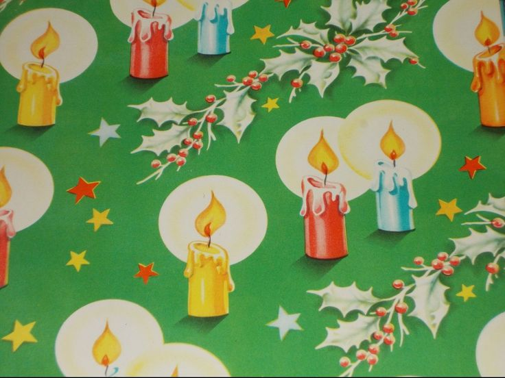 VTG CHRISTMAS WRAPPING PAPER GIFT WRAP 1940 NOS CANDLES HALO HOLLY STAR WW2 | eBay