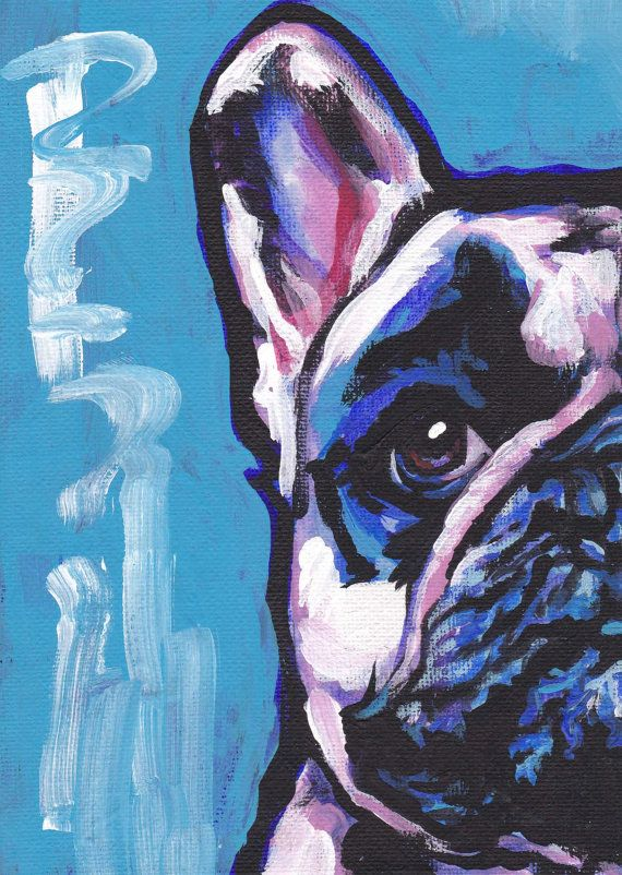 French Bulldog art print pop dog art bright by BentNotBroken, $22.99 Love the contrast