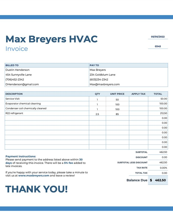 HVAC Invoices Templates (Free!), Tips, & A Handy App in