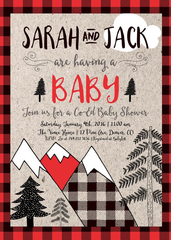 Couples Baby Shower Invitation Printable, Outdoor Camping Party Co-ed Invite, Mountains Lumberjack Adventure Begins, Winter Retro Rustic
