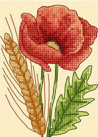 Free cross stitch chart: poppy and wheat