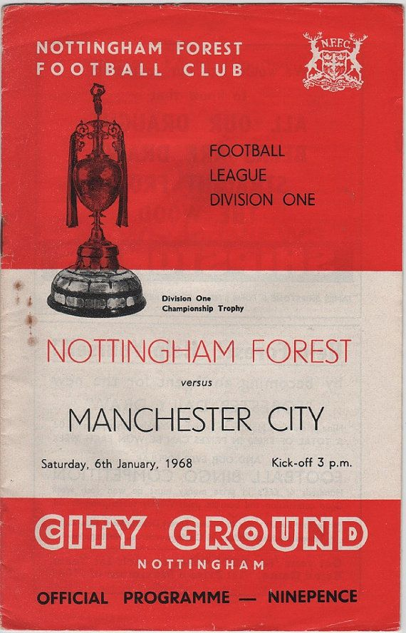 Vintage Football (soccer) Programme - Nottingham Forest v Manchester City, 1967/68 season #football #soccer