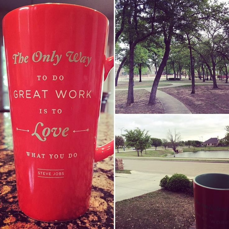 """Happy Saturday! Drank my coffee from my Steve jobs quote cup this morning. """"The only way to do good work is to love what you do."""" Then went for a bike ride stopping at the park. ---- It's unfortunate that sometimes making a living trumps doing what we really enjoy. But highly respected is the person that does what they have to do to support their family. -- #morning #coffee #saturday #weekend #followme #liveyourdream"""