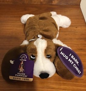 Rare collectible hush puppy Barking basset hound beanie baby-by applause NWTO    eBay