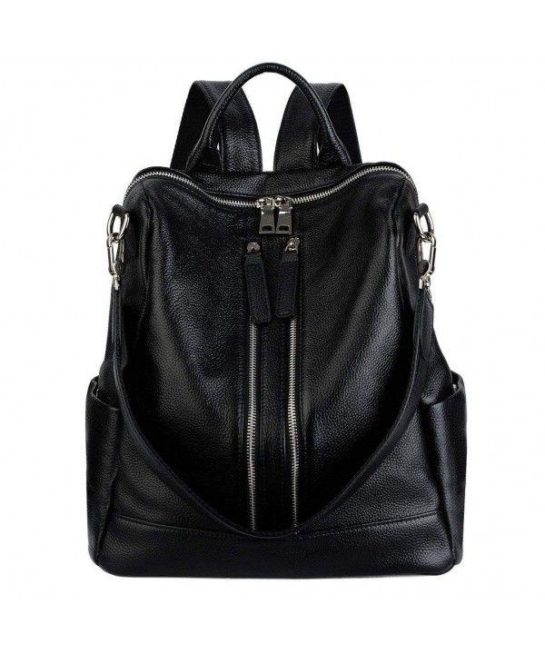 Girls's Convertible Actual Leather-based Backpack Versatile Shoulder Bag (Upgraded 2.0) – Black – CJ183NT379W