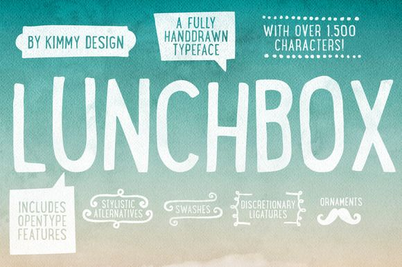 Lunchbox ALL 50% OFF OPENING SALE! ~~ Lunchbox is a uniquely handdrawn typeface that gives infinite customizable options and a fully authentic look. This unique font comes in light, regular and bold and includes a wide array of other languages.     Using Lunchbox's Opentype features gives access…