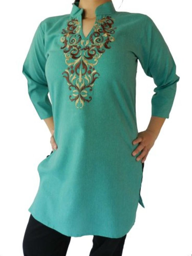 Light Green Women's Top Tunic with Brown and Khaki Embroidery Green, Medium