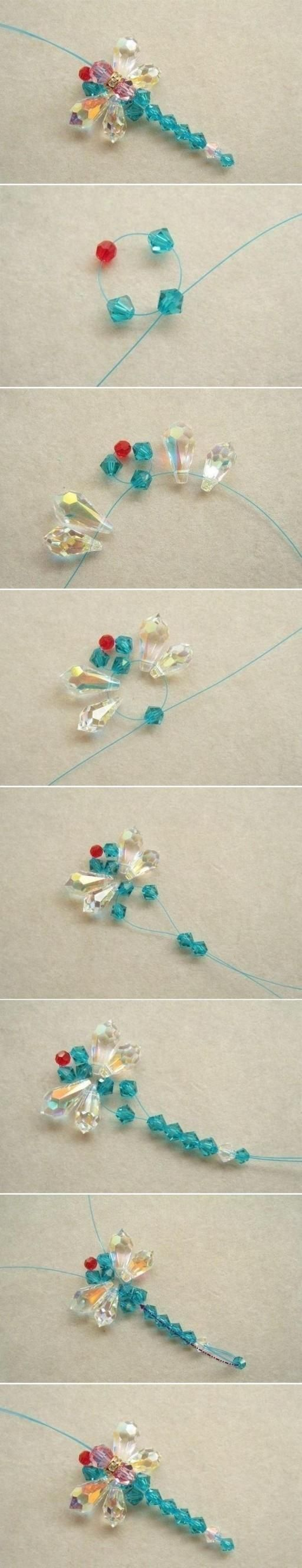 How to make Beaded Dragonfly step by step DIY tutorial instructions