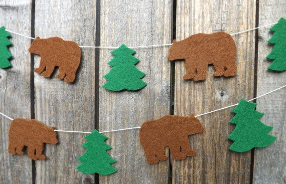 A sweet felt garland of alternating brown bears and pine trees creating a beautiful woodland themed garland to decorate your living space or childs room. The shapes are made with thick 3mm craft felt. The garland is available in three lengths: 87 cm ( 3 bears) 140 cm ( 6 bears) and 260 cm (12 bears)  I cut each shape by hand with scissors, and the acrylic felt makes this a highly durable garland that will last many years. You might also like this Bear Mountain Garland…