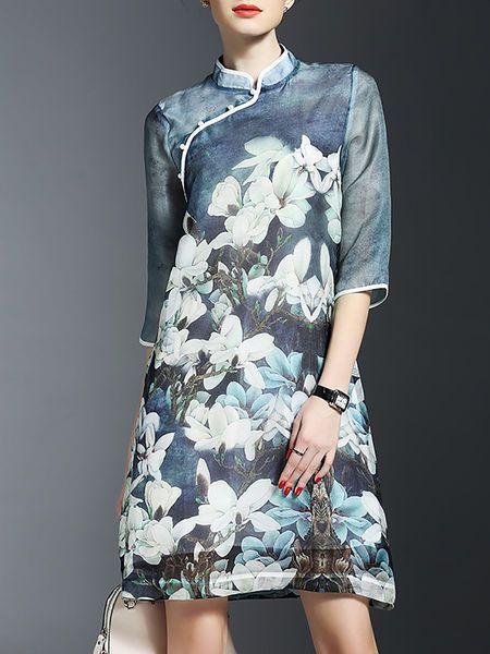 Floral-print Silk #Midi #Dress