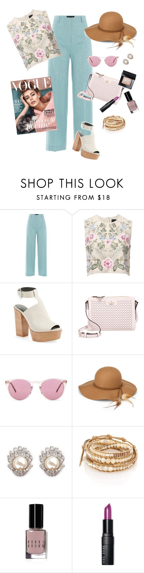 """How To Style Wide Leg Trousers"" by fashion-mama-aquarius on Polyvore featuring Piazza Sempione, Needle & Thread, Rebecca Minkoff, Kate Spade, Oliver Peoples, CZ by Kenneth Jay Lane, Chan Luu, Bobbi Brown Cosmetics and styleset"