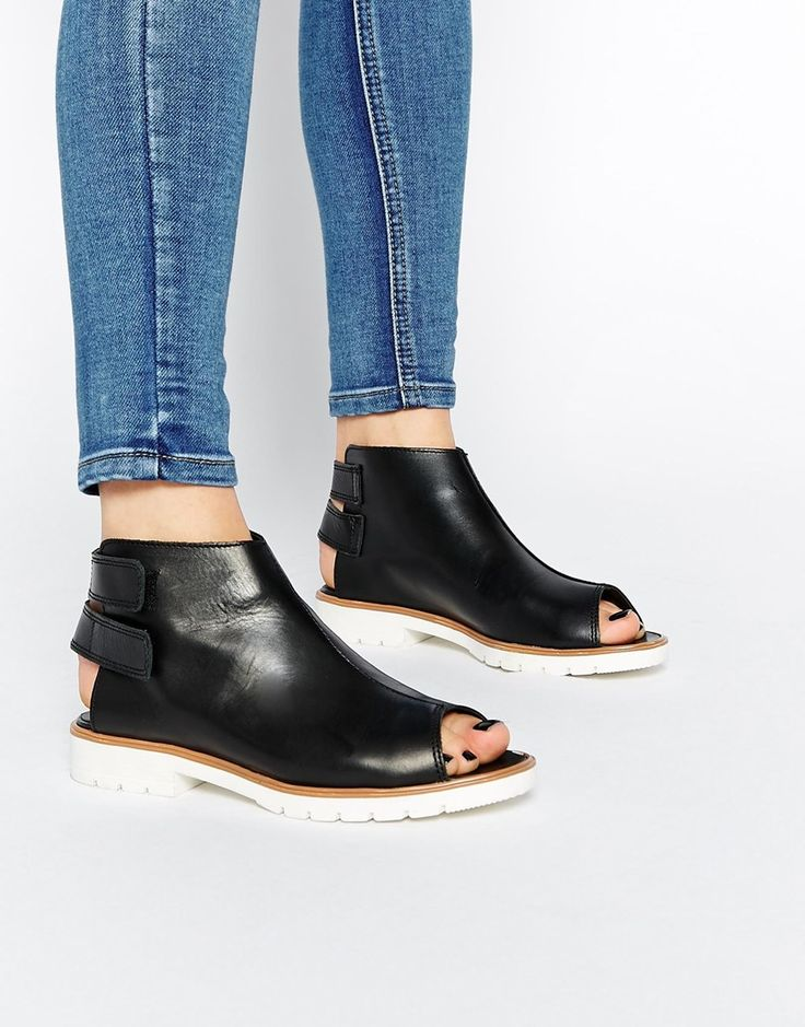 ASOS ADAM AND EVE Leather Peep Toe Ankle Boots