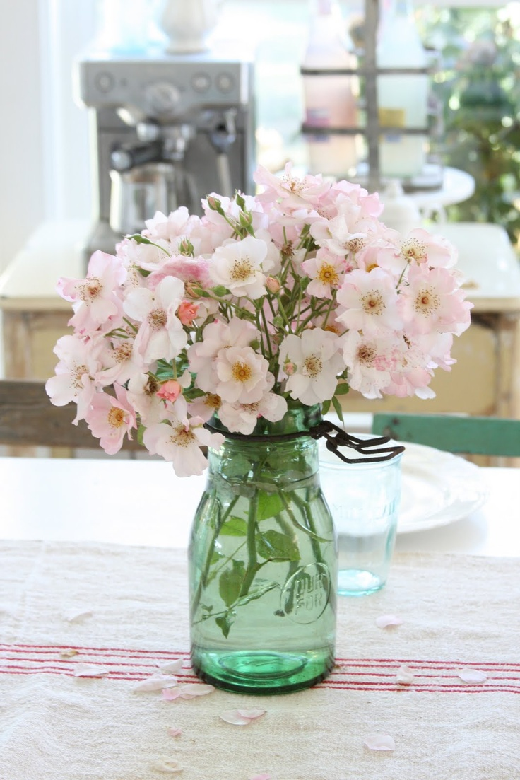 435 best bottles and jars images on pinterest floral arrangements flowers in a canning jar i think they are french canning jars seen on dreamy whites izmirmasajfo