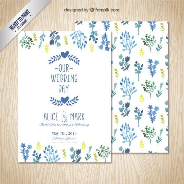 水彩画の葉を持つ結婚式の招待状 無料ベクター