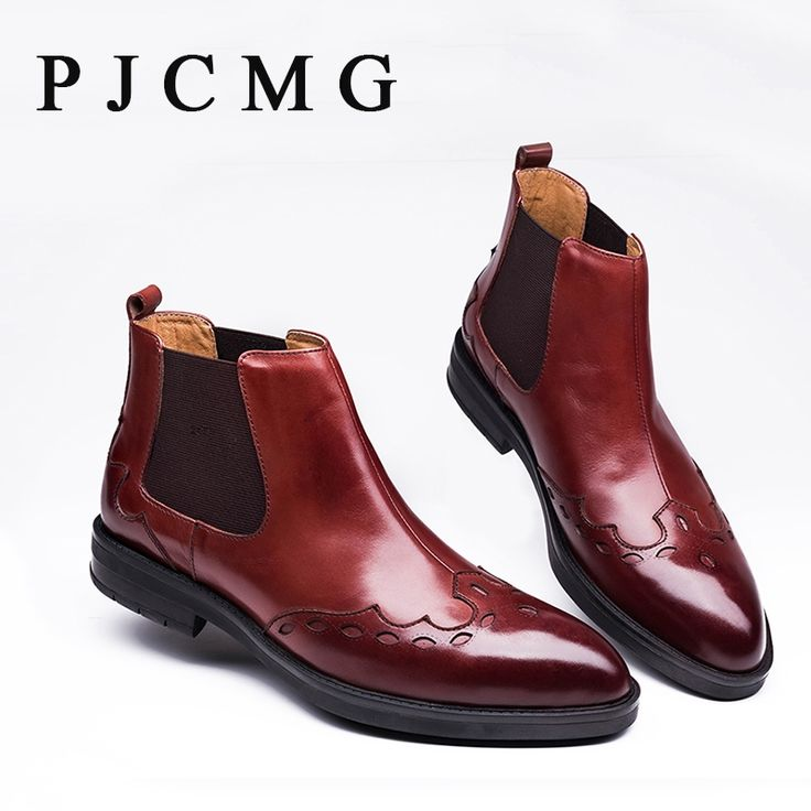 76.50$  Buy now - http://aliedk.shopchina.info/1/go.php?t=32813231256 - PJCMG Luxury Designer Spring/Autumn Men Brogues Carved Genuine Leather Waterproof Outdoor Tooling Ankle Dress Boots Shoes 76.50$ #aliexpresschina