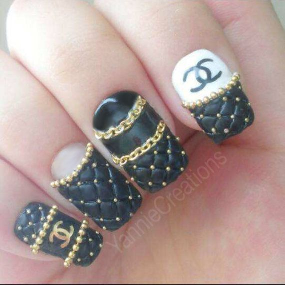 The 25 best chanel nails ideas on pinterest chanel nails design press on nails designer inspired logo quilted chanel by yanniecreationsdorothy johnson prinsesfo Image collections
