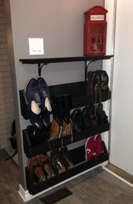 Custom shoe rack for our small garage entry - Dec. 2016