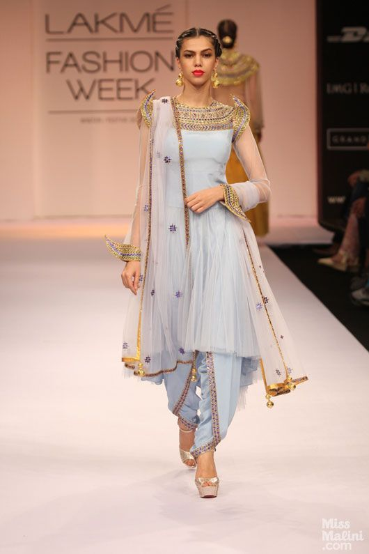 Powder blue salwar kameez by Shilpa Reddy, LFW 2013