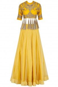 Yellow Floral Embroidered Blouse and Lehenga Set