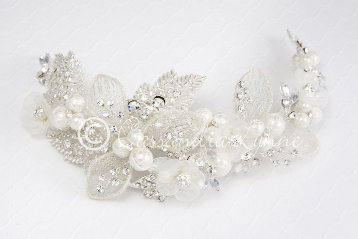 Bridal Headpiece Clip of Beaded Leaves and Ivory Pearls from Cassandra Lynne