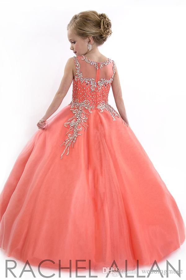 New 2015 Little Girls Pageant Dresses Princess Tulle Sheer Jewel Crystal Beads White Floor Length Coral back