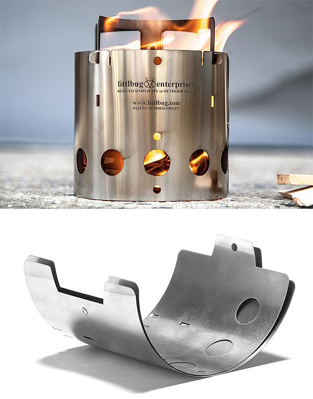 Collapsible Camp Stove: Backpackers know that when it comes to gear, weight is everything. And for cooking up hot meals at camp it doesn't get much more minimalist than this collapsible camp stove from Littlbug. Made up of 4 pieces of Laser-cut stainless steel it quickly pops together & gives you the option of using natural biomass fuels or a trusty, old Sterno can.