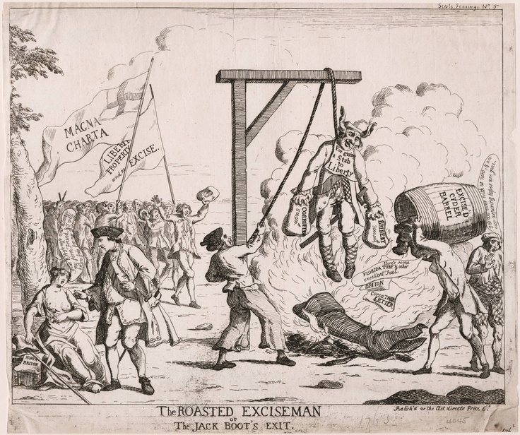 Title:  The roasted exciseman, or, The Jack Boot's exit  Related Title:  Jack Boot's exit  Published:  [London : J. Williams], publish'd as the act directs, [April 1763]
