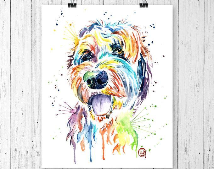 GOLDENDOODLE PRINT, Goldendoodle art, Dog art, Dog theme, Pet Portrait, Pet Art, Doodle Art, Goldendoodle Watercolour, Watercolor, Pet Print