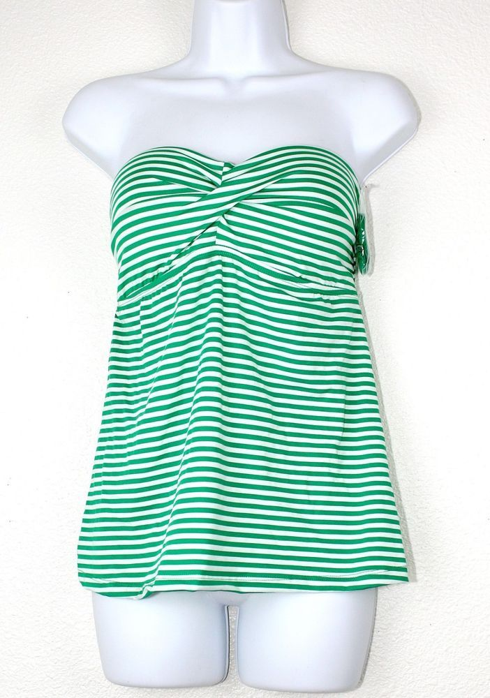 8d0a983782 NWT MOSSIMO Tankini Swimsuit Top Halter Bandeau Padded Green White Stripes  ~ XL #Mossimo #Tankiniswimsuittop