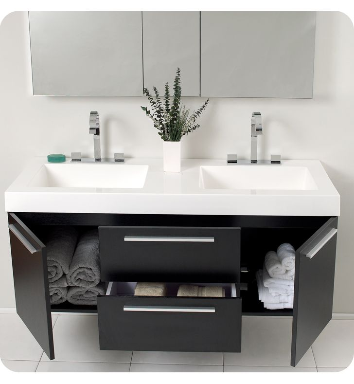 54 Opulento Black Double Sink Bathroom Vanity With Medicine Cabinet
