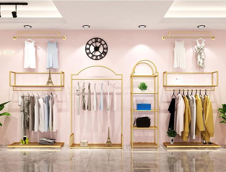 Clothing store rack display rack wall hanging double deck