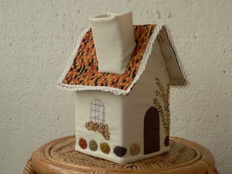 Zsebkendőtartó házikó , dunaildiko, meska.hu #wipe #case #textile #house