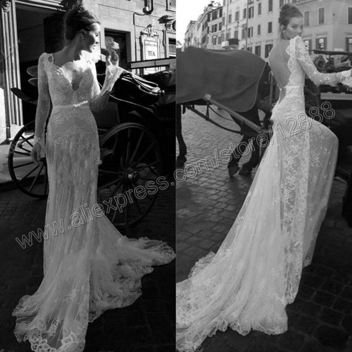 The mermaid backless white lace long sleeve wedding dress for Backless wedding dresses with sleeves