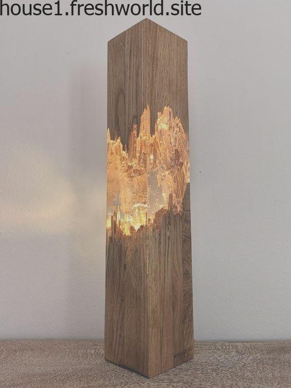 Epoxy Holz Lampe, Lampe, Harz Tischdekoration, einzigartige