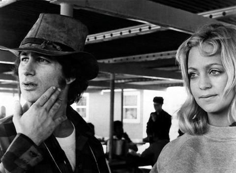 """Steven Spielberg and Goldie Hawn on the set of """"The Sugarland Express"""""""