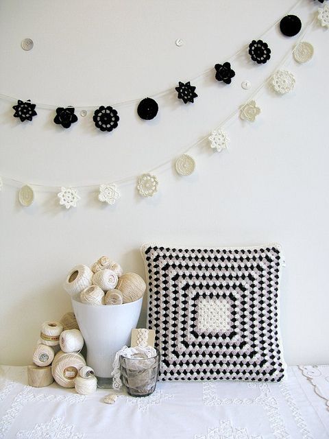 Crochet pillow, doilies, and supplies