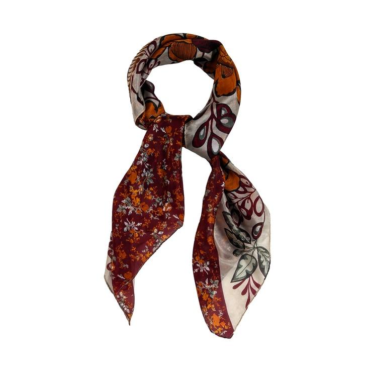 sciarpa in seta 100% bicolore con motivo a fantasia geometrica. Made in India. Composizione: Lunghezza 100, Larghezza 100