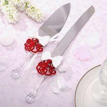 Festa de casamento acrílico Faux alça de cristal de aço inoxidável cortador Set servidor bolo faca(China (Mainland))