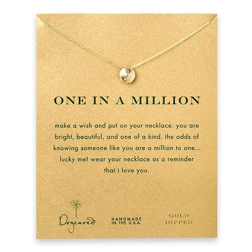 one in a million reminder necklace with gold dipped sand dollar $58