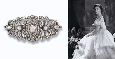 JEWELLERY AND FABERGE, FROM THE COLLECTION OF H.R.H THE PRINCESS MARGARET, COUNTESS OF SNOWDON: A GEORGE III DIAMOND BUCKLE-BROOCH. The curved openwork lozenge-shaped plaque set with five central rose-cut diamonds to the stylised scroll border, circa 1780. HM Queen Mary purchased this brooch in 1933.
