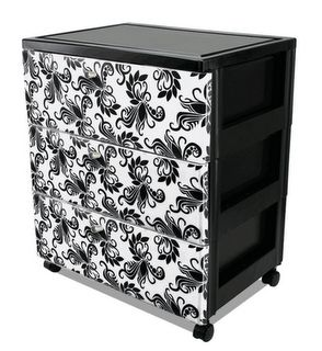 I'm going to try this with my plastic drawer sets...I love how easy it is to organize with plastic drawers, but I hate using them cuz of how ugly they are.  Now I can make them into a decorative piece :)
