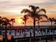 It's not what most people envision doing by the beach, but Hotel del Coronado in San Diego sets up a rink along the Pacific Ocean for  holiday ice skating . The year 2014 marked the 11th year that hotel has had the rink on its lawn, with views of Coronado beach and sunsets over the ocean.