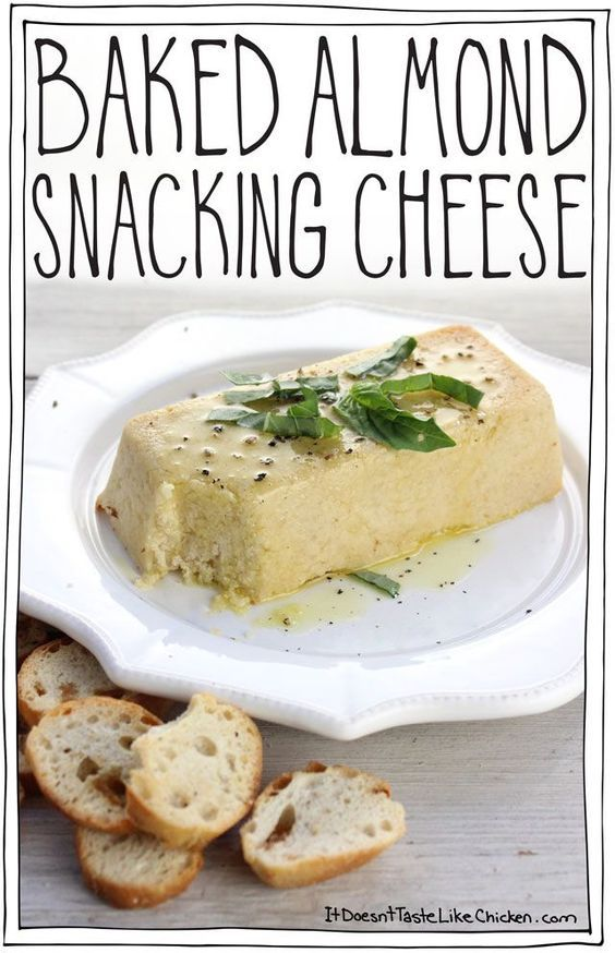 Baked Almond Snacking Cheese! A vegan, dairy-free cheese that takes just 35 minutes to make. Soft, creamy, tangy appetizer that's somewhere between feta and chèvre. #itdoesnttastelikechicken: