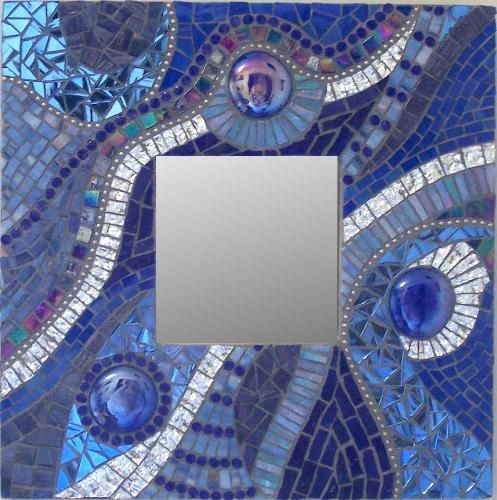 """Minerva Mosaics Gallery  """"Indigo Fluidity""""  10"""" by 10""""  Mixed glass, bead chain,  glass globs    Available"""