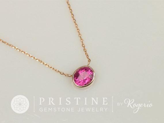 Purple Pink Fuschia Tourmaline 14k Gold Bezel Set Layering Necklace #christmas_gift #fuschia_tourmaline #gemstone_jewelry