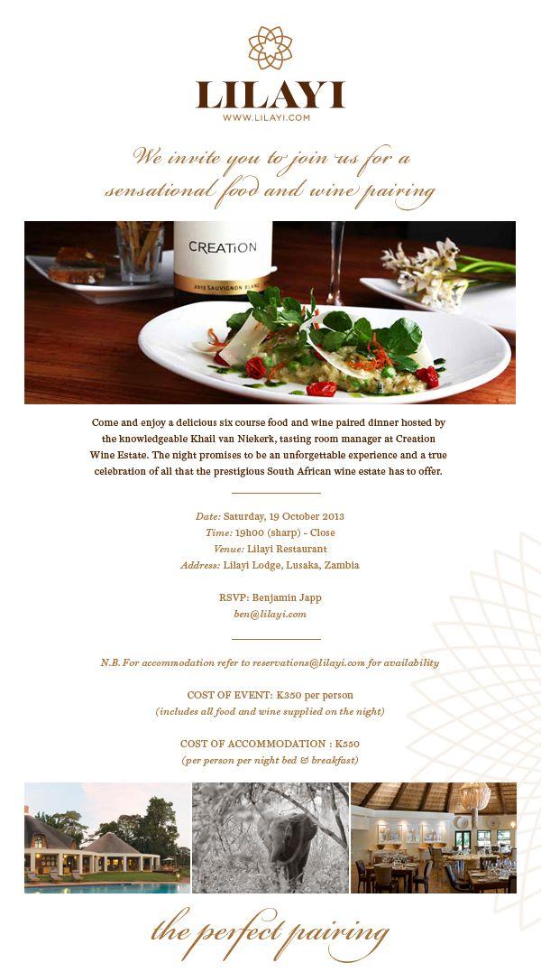 Lilayi Wine Tasting Invite Food & Wine Pairing