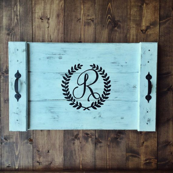 Customized Wooden Tray with Monogrammed Letter