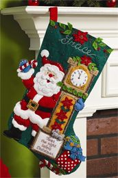 Bucilla ® Seasonal - Felt - Stocking Kits - 'Twas the Night. Honor family traditions and create new ones this Christmas with this adorable stocking kit. The kit contains: stamped felt, embroidery floss, sequins, beads, needles, trilingual instructions. #bucilla #stockings #christmas #plaidcrafts