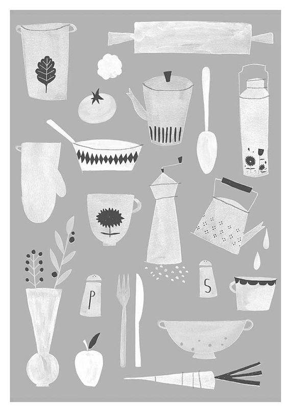 Kitchen print A3 by studiomeez on Etsy