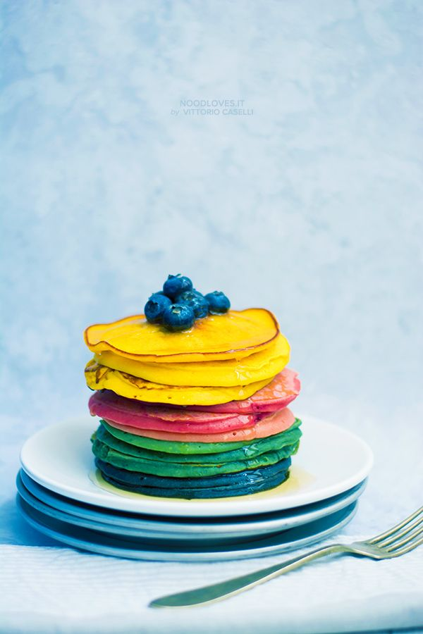 Ricotta Pancakes: the ultimate recipe to make super-yummy and fluffy pancakes!  Here the recipe: http://noodloves.it/pancakes-alla-ricotta-multicolor/    Tags: Rainbow pancakes, multicolor, breakfast recipe, brunch, american bakery, dessert